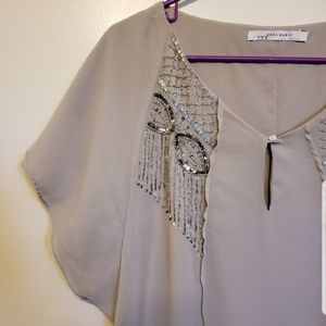 Zara | Taupe beaded tunic blouse